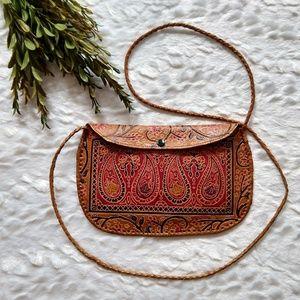 Handbags - Embossed tooled leather paidley crossbody purse
